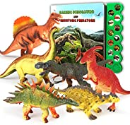 OleFun Dinosaur Toys for 3 Years Old & Up - Dinosaur Sound Book & 12 Realistic Looking Dinosaurs Figur