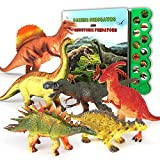 OleFun Dinosaur Toys for 3 Years Old & Up - Dinosaur Sound Book & 12 Realistic Looking Dinosaurs Figures Including T-Rex, Triceratops, Utahraptor, for Kids, Boys and Girls