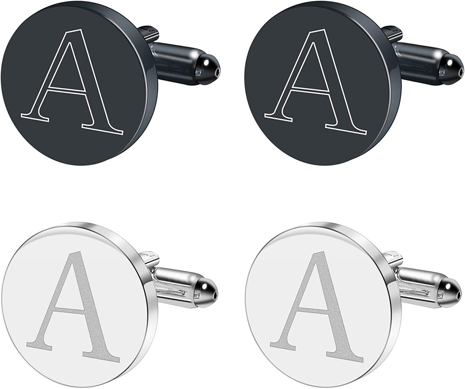 MOZETO Cufflinks for Men, 2 Pairs Black and Silver Classic Initial Cufflinks 26 Alphabet A-Z for Wedding Bussiness Shirts, Gift for Men with A Elegant Box