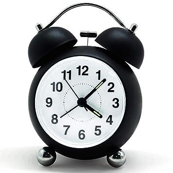 Bigmeda Despertador de Doble Campana, Reloj Despertador, Clásico Alarm Clock con Luz de Noche, 3,5 Pulgadas Dial Grande, Reloj de Cuarzo Analógico con ...