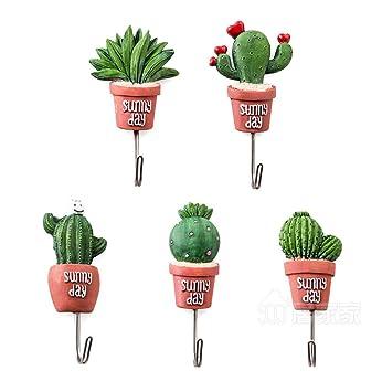 Linjinfeng 5 Style Mur Crochet Cactus Adhesif Fleur Artificielle Pot