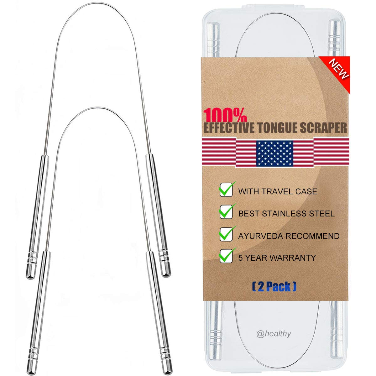 Tongue Scraper, Tongue Cleaner 2 Pack Surgical Stainless Steel Rustproof Tongue Scrapers Effective Reusable Lifetime Scraper for Plaque and Bacteria Removal, Fresh Breath - New