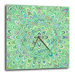3dRose David Zydd - Floral Mandalas - Green Quadrant Mandala - Abstract Design - 15x15 Wall Clock (DPP_301031_3)