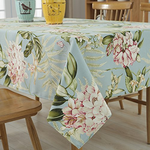 Tina Vintage Floral Cotton Linen Rectangular Table Cover Dining Tablecloth Blue, 39x55