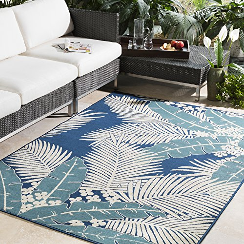 Janae Blue and Ivory Indoor / Outdoor Area Rug 7'10