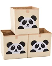 EZOWare Set of 3 Foldable Fabric Basket Bin, Collapsible Storage Cube for Nursery Home, Kids and Toddlers - (10.5 x 10.5 x 11 inch, Panda)
