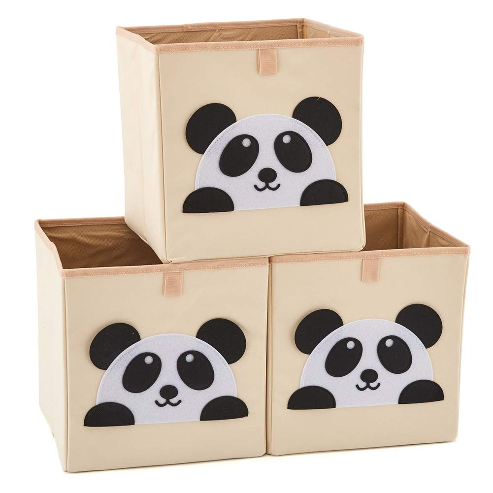 EZOWare Set of 3 Foldable Fabric Basket Bin, Collapsible Storage Cube for Nursery Home, Kids and Toddlers - (26.7 x 26.7 x 28cm, Giraffe)