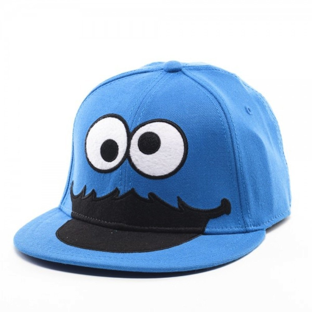 51b16624b4a4e Amazon.com  Bioworld Sesame Street Cookie Monster Face Fitted Flat-bill Hat  Blue One Size  Clothing