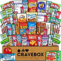 CraveBox 60-Count Care Package Snacks Cookies Bars Chips Candy