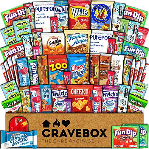 CraveBox Care Package (60 Count) Snacks Cookies Bars Chips Candy Ultimate Variety Gift Box Pack Assortment Basket Bundle Mixed Bulk Sampler Treats College Students Office Fall Semester Back to School (Best Gift To Get A Girl For Her Birthday)