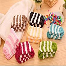 Womens Fuzzy Socks Cute Striped Fluffy Warm Colorful Winter Fall Comfortable