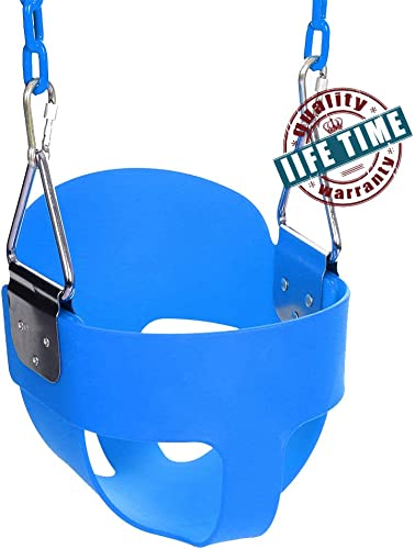 ANCHEER Toddler Swing Seat High Back Full Bucket Swing Seat with 60-inch Coated Chain and Two Snap Hooks Swing Set Accessories Blue