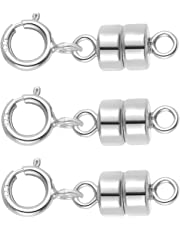 3 PACK Sterling Silver 4.5 mm Magnetic Clasp Converter for Jewelry and Necklaces - Made in USA