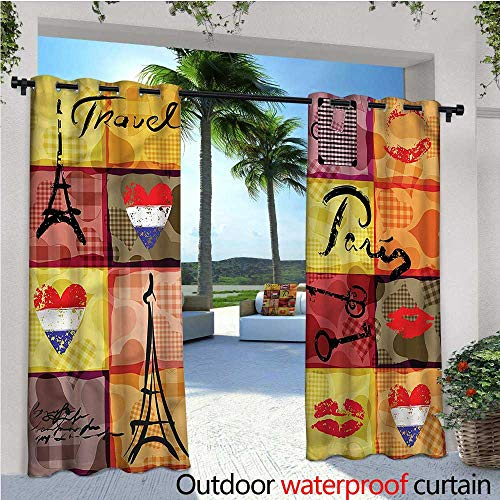 (warmfamily Modern Indoor/Outdoor Single Panel Print Window Curtain French Paris Collage Silver Grommet Top Drape W96 x L96)