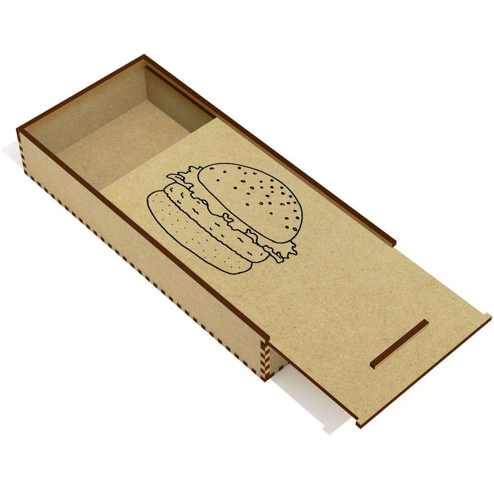 木'バーガー'鉛筆ケース/スライドトップボックス( pc00004044 ) B01LIE8A3K 15692