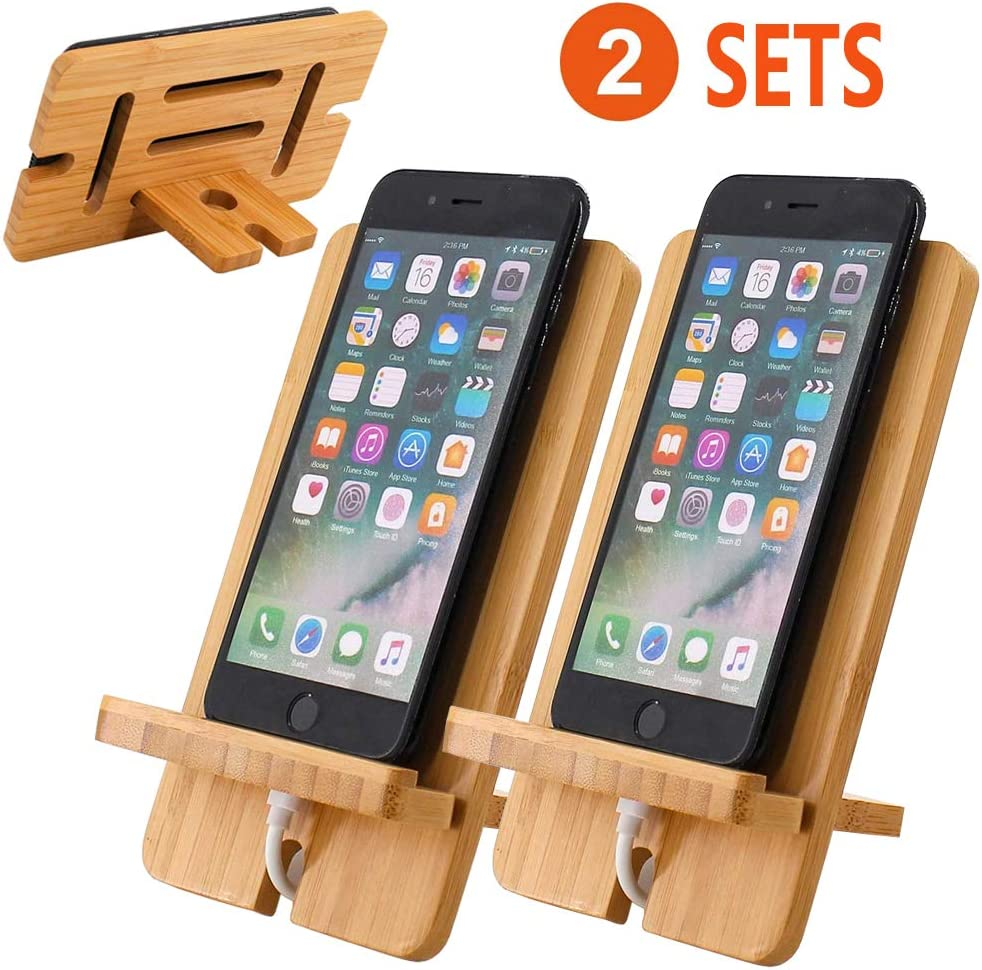 BambuMate Cell Phone Stand 2 Pack, Bamboo Wooden Desktop Charging Dock Tablet Holder Compatible with Smart Phone Phone 11 Pro Xs Xs Max Xr X 8 7 6 6s Plus 5 5s 5c All iOS & Android Phone, Tablet