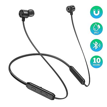 EVIO Bluetooth Headphones, Best Sports Wireless Bluetooth 5.0 Hi-Fi Stereo Deep Bass Earbuds, IPX7 Waterproof 10 Hrs Playing Time Headsets, CVC 8.0 Neckband Magnetic in-Ear Earphone w Mic Black