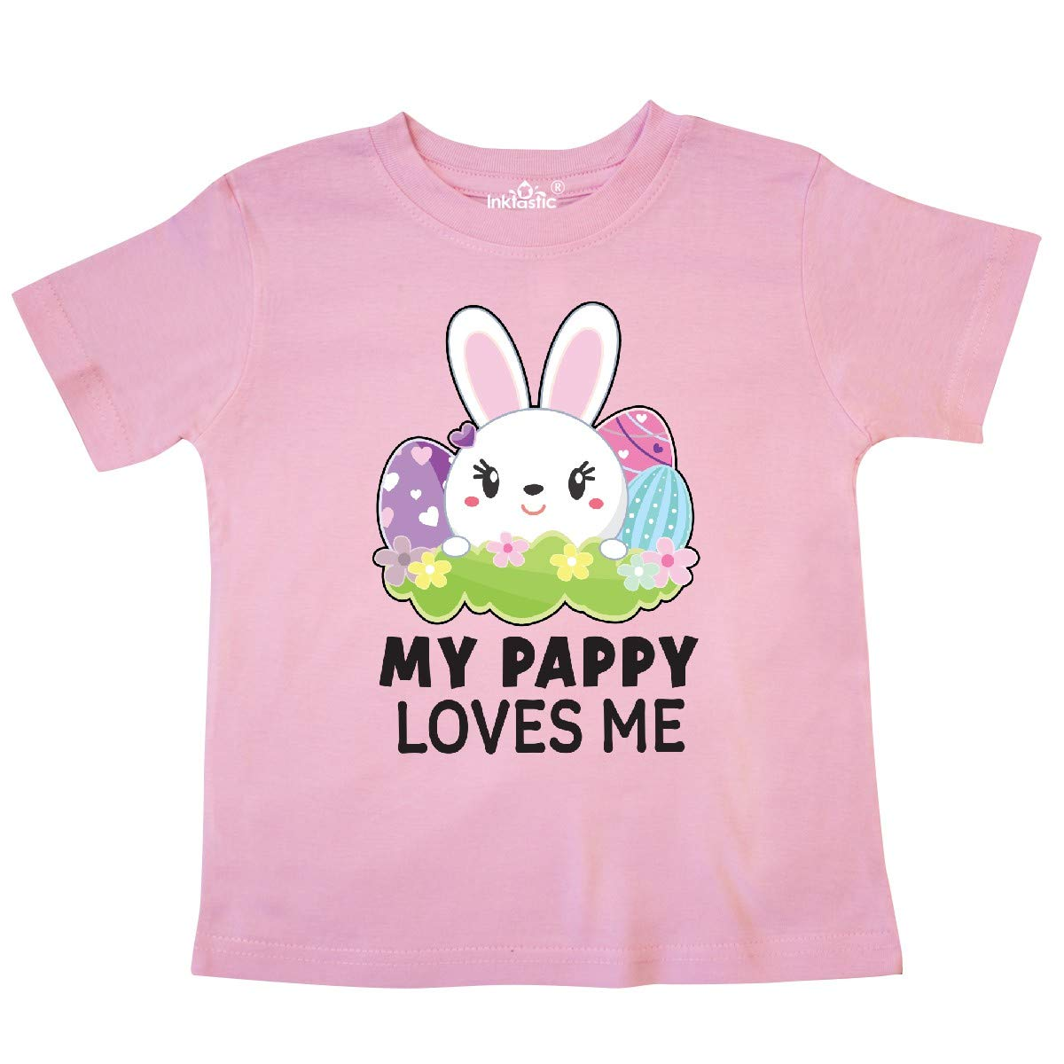 inktastic My Pappy Loves Me with Bunny and Easter Eggs Toddler T-Shirt