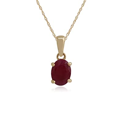 Gemondo Ruby Necklace, 9ct Yellow Gold 1.48ct Oval Ruby Pendant on 45cm Chain