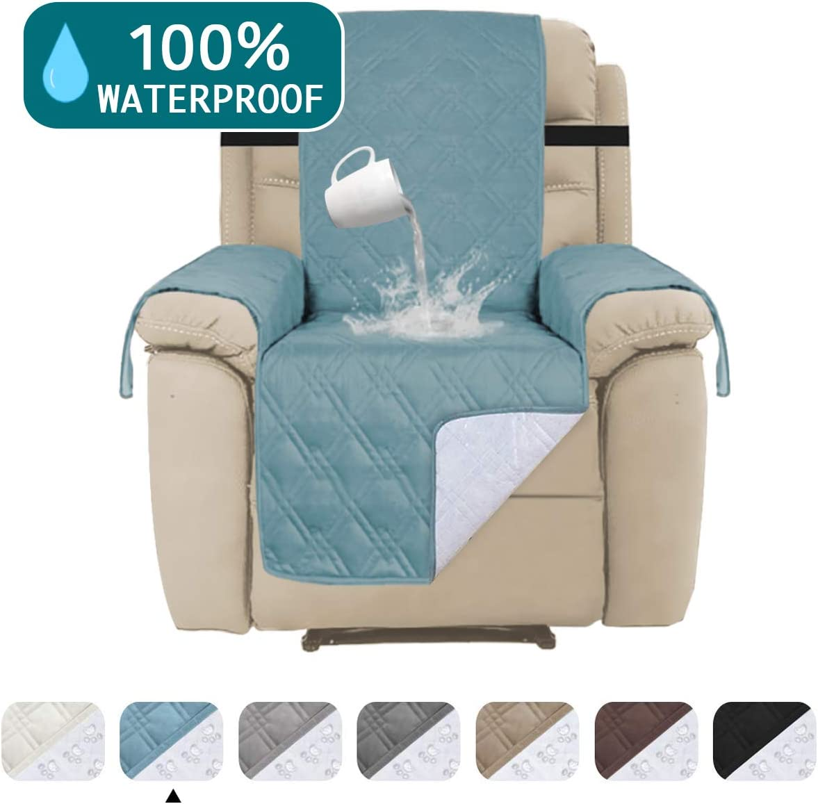 """Turquoize Waterproof Couch Cover for Recliner Chair Cover for Leather Furniture Protector Cover Non Slip Backing Furniture Cover Protect from Pets Sitting Area Up to 30"""", Oversized Recliner, Blue"""