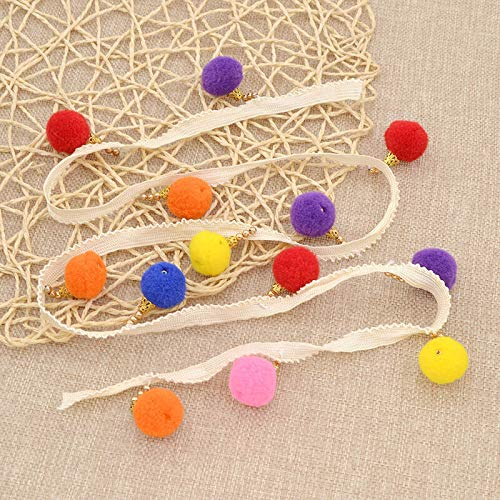 (MOPOLIS DIY Pom Pom Bead Bobble Tassel Ribbon Fringe Room Wedding Decor Craft 1 Yard | Xuanze - Creamy Thin)
