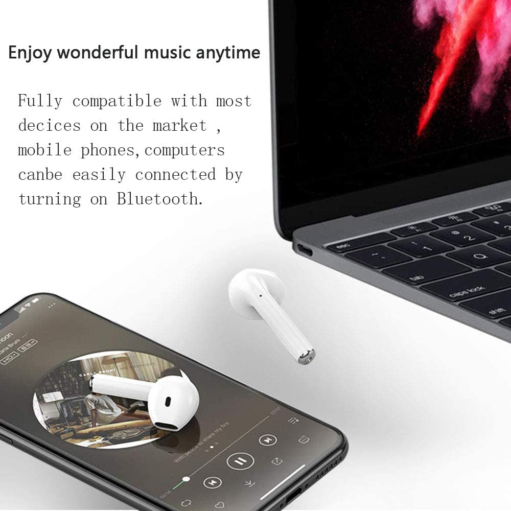 Bluetooth 5.0 Wireless Earbuds Noise Canceling IPX5 Waterproof Sports Headset Pop-ups Auto Pairing with Mini Charging Case Bluetooth Headphones Built-in Mic for Android//iPhone Apple Airpods