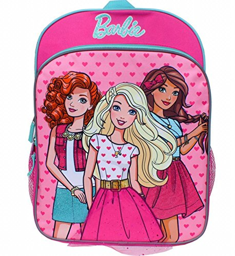 Barbie 16 Inch Backpack with Pink Heart Accents Travel School Back Pack