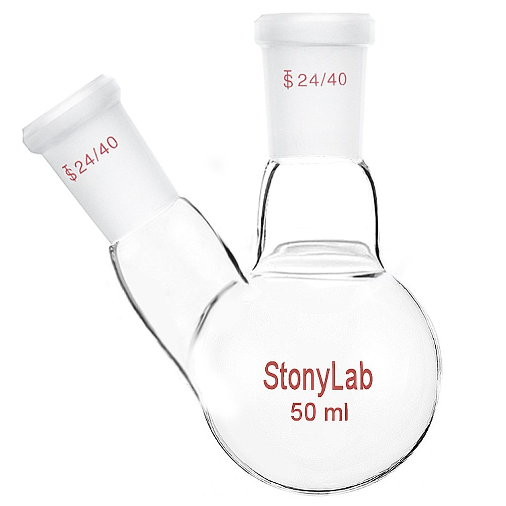 StonyLab Glass 100ml Heavy Wall 2 Neck Round Bottom Flask RBF, with 24/40 Center and Side Standard Taper Outer Joint - 100ml StonyLab Scientific
