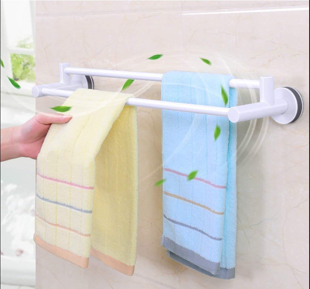 YCT 浴室のバスルームの棚吸盤無料のパンチングバスタオル二重棒のタオル乾燥タオル掛け (サイズ : 62.5cm*13.6cm) B07S9XM5BW  62.5cm*13.6cm