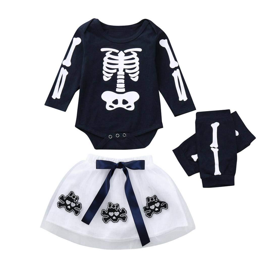 K-youth Ropa Bebe Nina Recien Nacido Otoño Invierno Halloween Infantil Body Bebe Niña Conjunto Bebé Mono Mameluco Esqueleto + Tutu Falda + Protectores De Rodillas