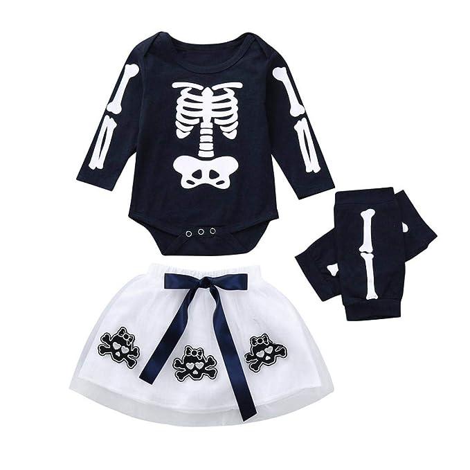 Gusspower Bebe Mono para Niñas, 0~24 Meses Vestir Conjunto Set de Trajes Esqueleto Esqueleto Imprimir Vestidos Recién Nacido Bebé Niña Mono+Calcomanía Falda ...