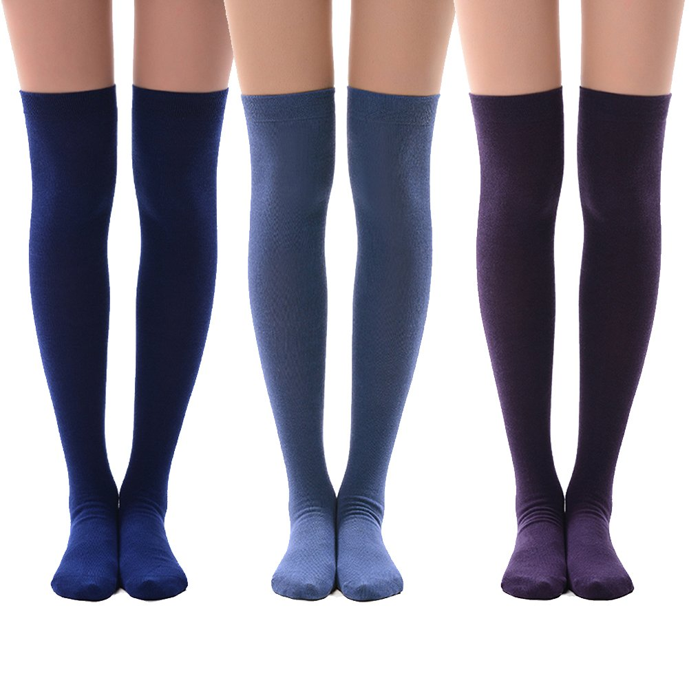 3 Pairs-purple&navy Blue&royal Blue