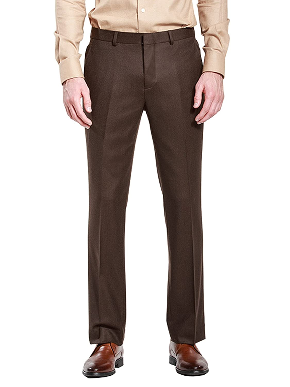 HBDesign Mens Outdoor Ball Slim Fit Flat Straight Brown Iron Free Pants HMP5004BR