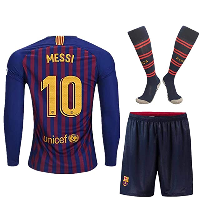 newest e8d94 27ee9 Season 18/19 Barcelona #10 Messi Home Kids/Youth Long Sleeve Soccer  Jerseys/Shorts/Socks Red/Blue 9-10Years Old