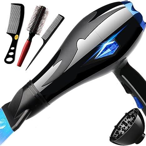 DW&HX Rizadores de hierro 3000w Secador de pelo,Poderoso Casa Silencioso Profesional Secador rápido-