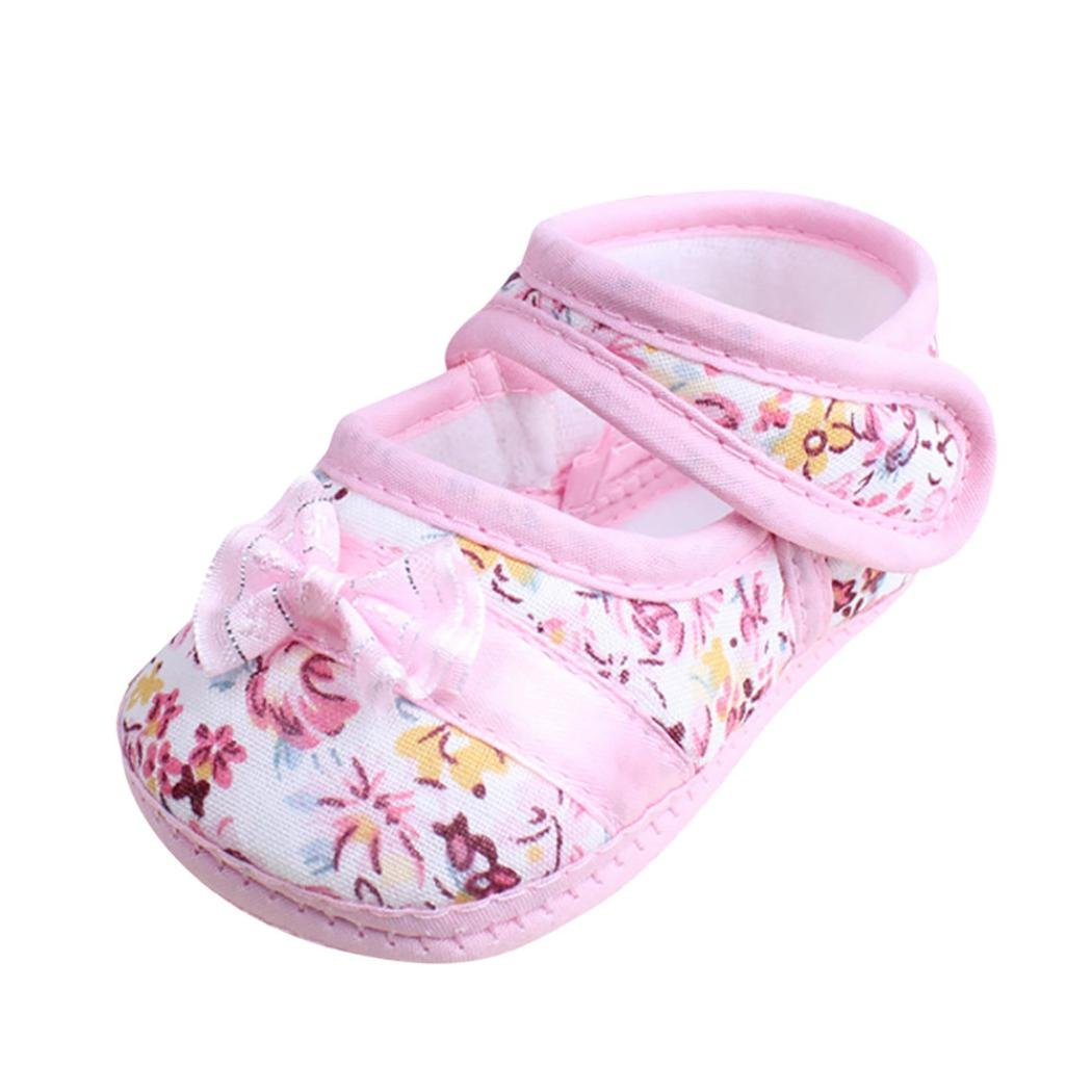 Perman Summer Baby Girl Toddler Soft Sole Bowknot Anti-slip Casual Shoes (0-6Months, Pink) PM-0309