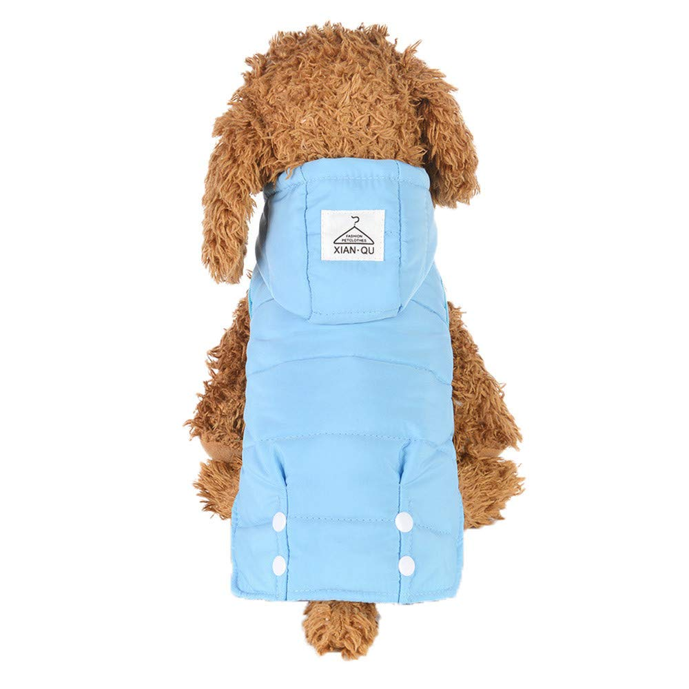 Makeupstore Coats for Dogs,Pet Dog Clothes Puppy Jacket Two-Legged Clothes with Waist Design Winter Coat,Dog Hoodies,Blue,M