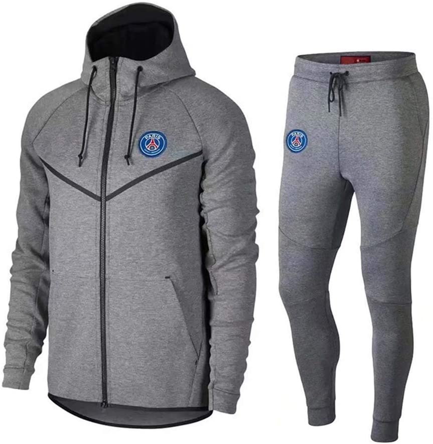 大人のグレーフード付きサッカーユニフォームロングスリーブトレーニングスーツパリサンジェルマンフットボールクラブスポーツウェア男性PSGコンペティションスウェットシャツスーツ  Medium