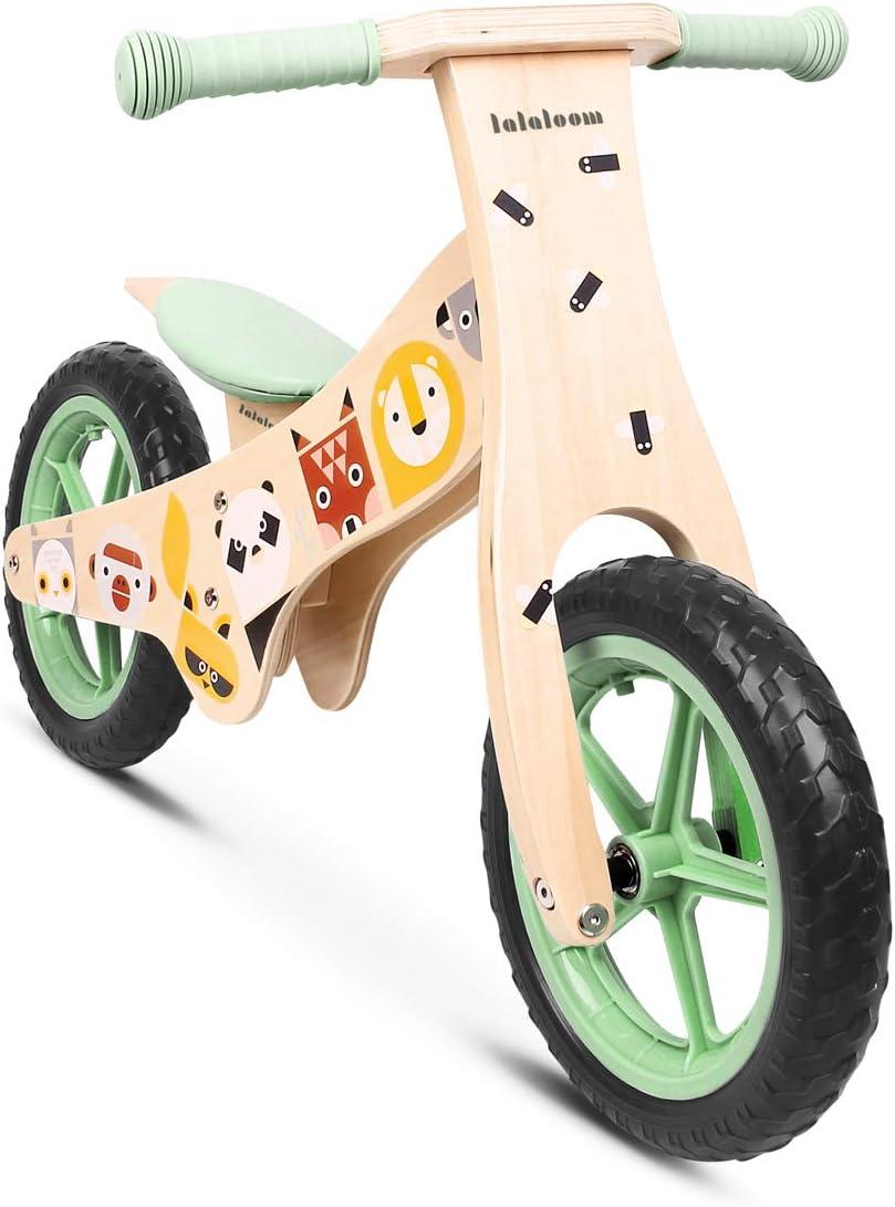 Lalaloom WILD BIKE - Bicicleta Andador Madera verde diseño animales sin Pedales, Correpasillos niños Sillín regulable con ruedas de goma EVA