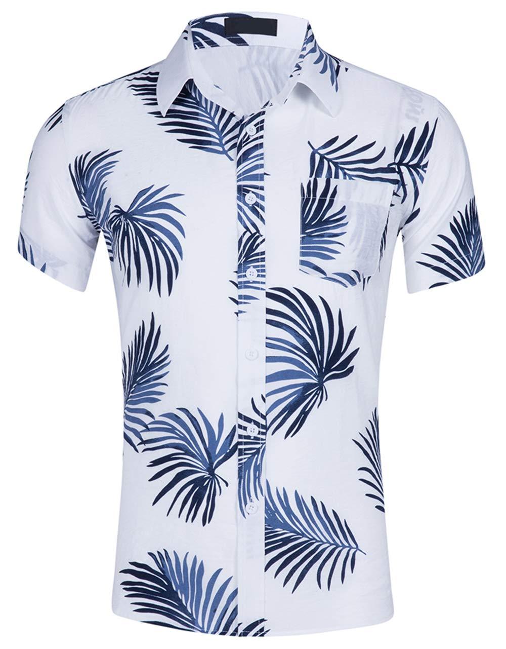 Cyparissus Men's Casual Button Down Shirt Cotton Hawaiian Shirt for Beach (M, White Blue Palm Leaves) by Cyparissus