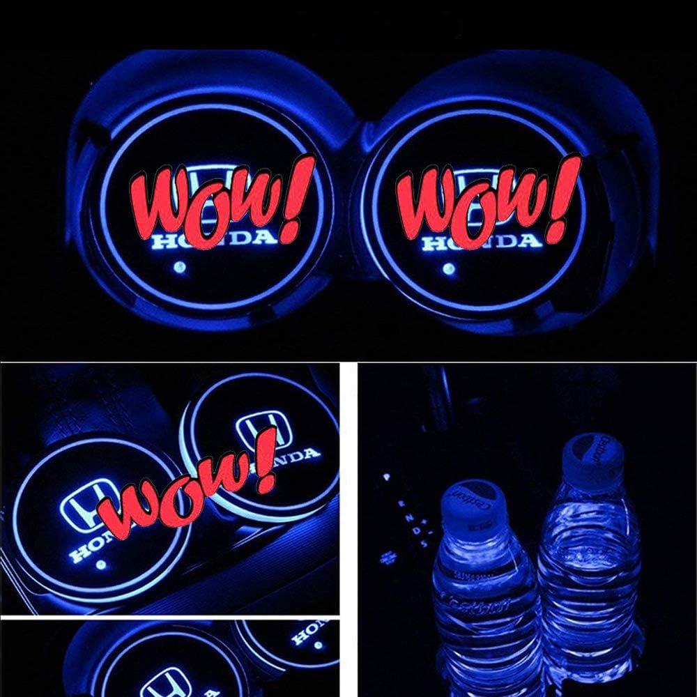 Choose Your Car Name VILLSION 2PCS LED Cup Holder Car Coaster Wireless 7 Colors Light USB Charging Bottle Mat Pad Drink Holder for Car LED Interior Ornament Light