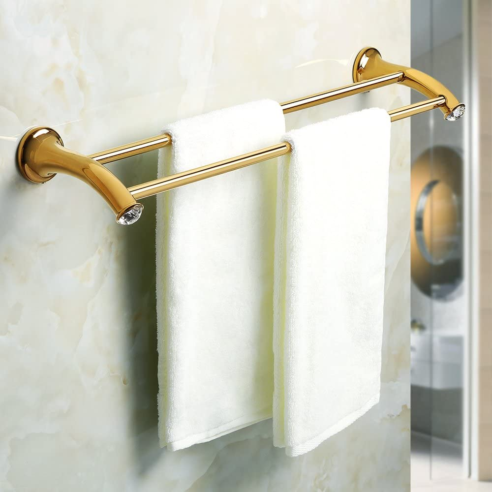 Wall Mounted Towel Holder Crystal Inlaid Design SUS 304 Stainless Steel Golden Finished 24 Inches EGY602 Sayayo Double Towel Rail Towel Bar