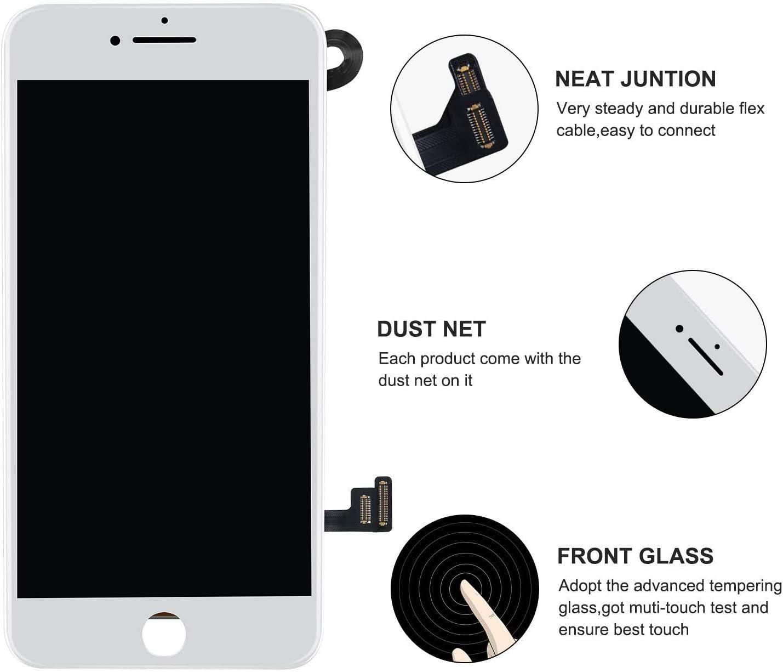HDXYW /écran Compatible avec iPhone 8 Plus noir remplacement /écran Kit de r/éparation de l/écran tactile pr/émont/é /écouteur cam/éra frontale capteur de proximit/é