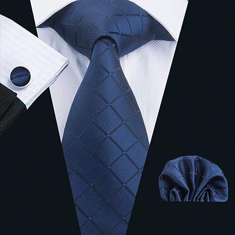 XKZYY Conjunto de Corbata para Hombre Seda Plaid Pocket pañuelo ...