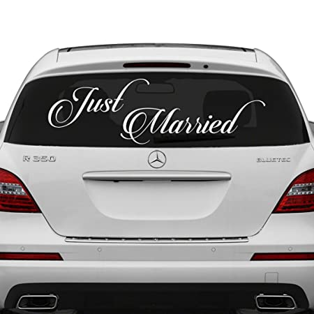 50x17 cm just married vinyl car decal design wedding cling banner decoration quote