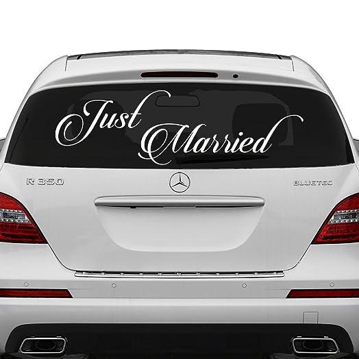 X Cm Just Married Vinyl Car Decal Design Wedding Cling - Car window stickers amazon uk
