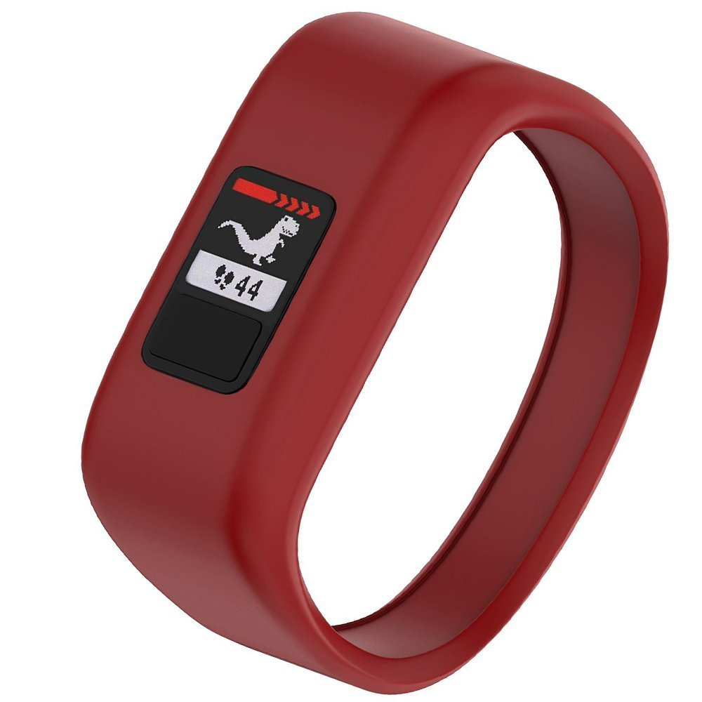 NotoCity Compatible with Garmin Vivofit JR/JR 2/3 Bands,Soft Silicone Replacement Watch Bands for Boy Girls Kids,Red Large by NotoCity