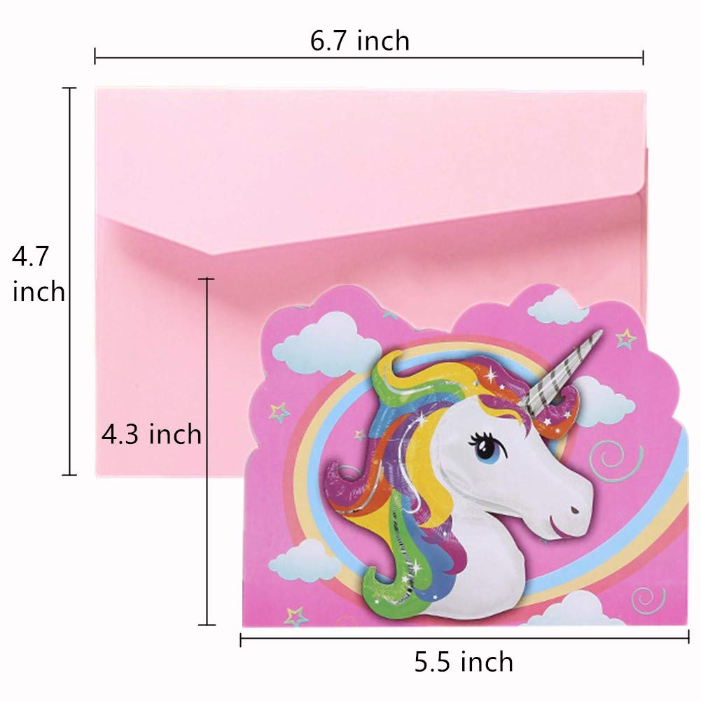 24 Pack Pink Unicorn Invitations Double Sided Unicorn Face Cards for Girls Boys Kids Birthday Party Favor Devbor with Envelopes/&Stickers