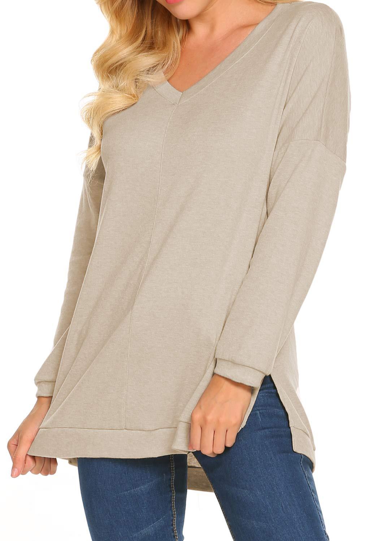 Newchoice Sweatshirt for Women Warm, Juniors Fall Clothing Loose Casual Blouse (US L(12-14), Cream)
