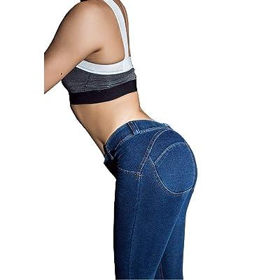 ADELINA Pantalones De Mezclilla De Las Mujeres Estiramiento Cintura Alta Ropa Flaco Pantalones De Mezclilla Elásticos Botones con Bolsillos Cómodos Pantalones Casuales (Color : Azul Oscuro, Size : L): Ropa y accesorios